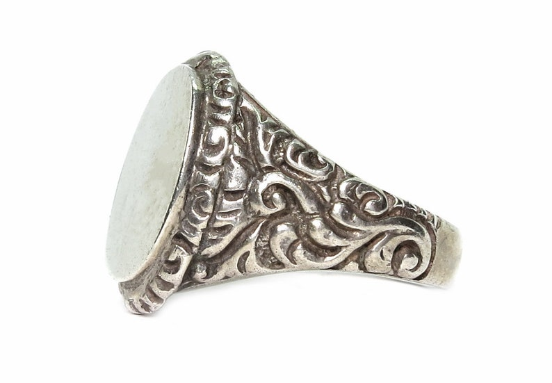 Art Nouveau-sterling silver-original-signet ring-free image 0