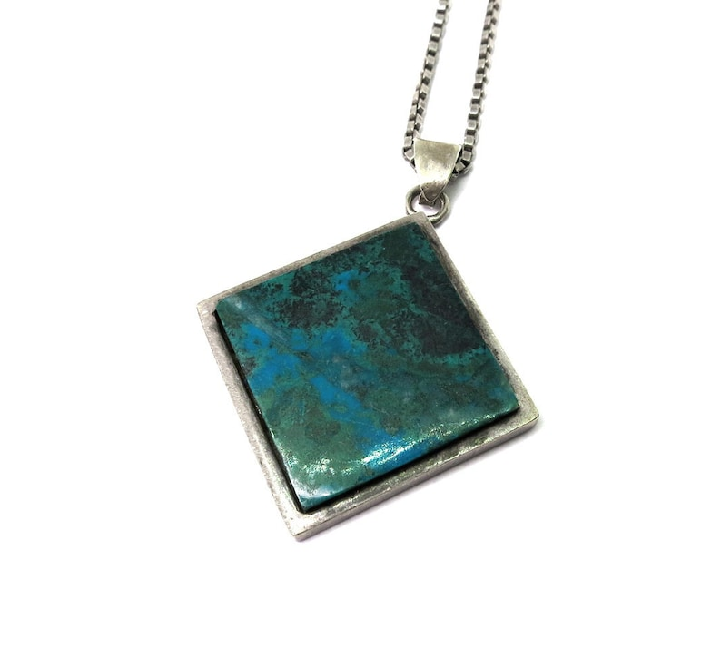 vintage necklace-sterling silver-set with a turquoise-approx image 0