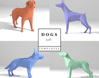 Dogs Set Low Poly Paper Model Templates 3D Sculpture Origami Papercraft Cardboard Animal