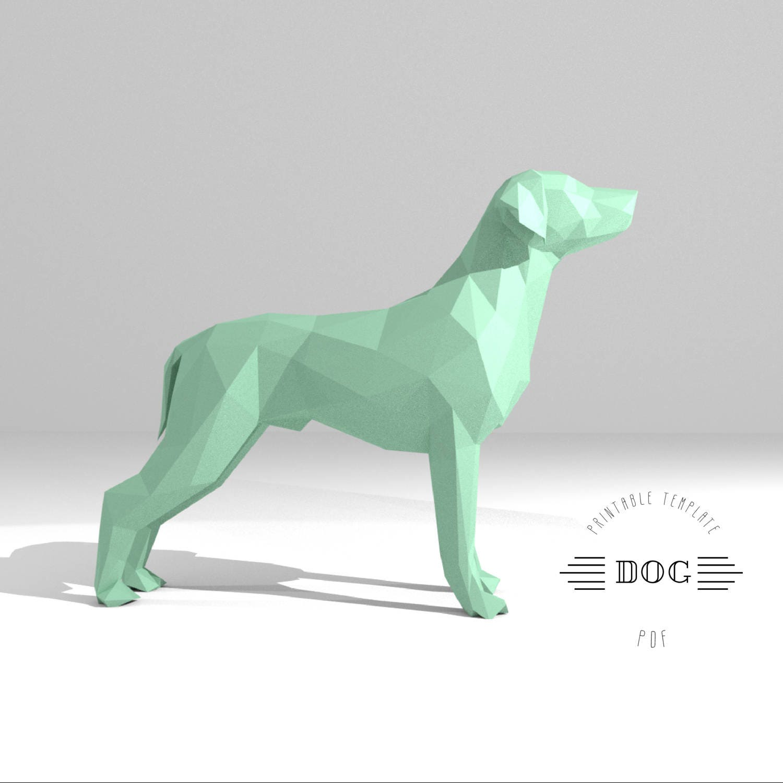 Printable Diy Template Pdf Dog Low Poly Paper Model Etsy