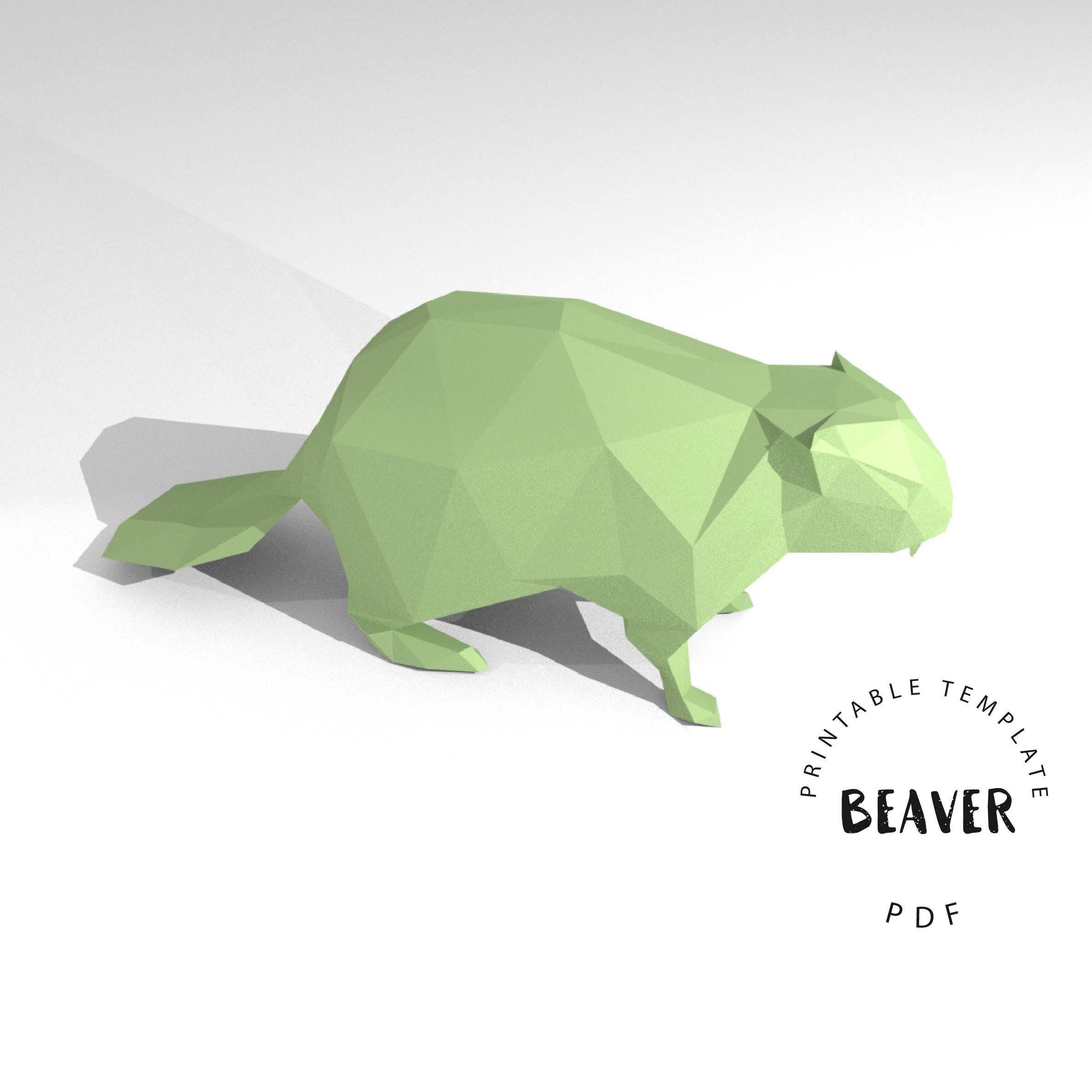 Printable DIY template (PDF). Beaver low poly paper model template ...