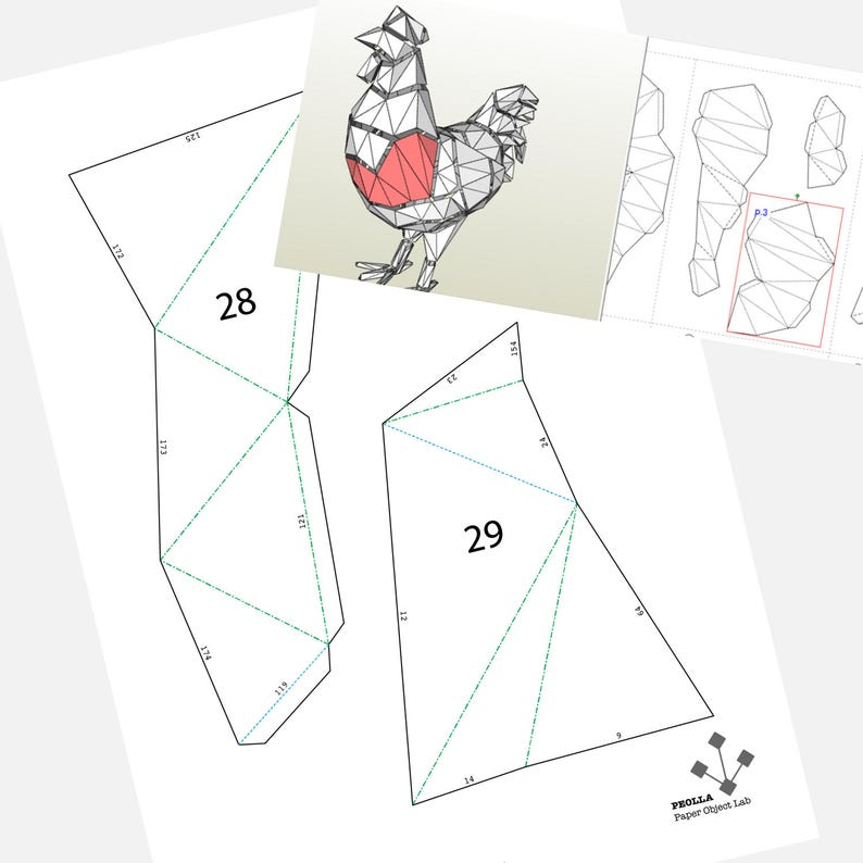 image relating to Rooster Template Printable known as Printable Do it yourself template (PDF). Hen reduced poly paper style template. 3D animal paper sculpture. Origami. Papercraft. Cardboard animal.