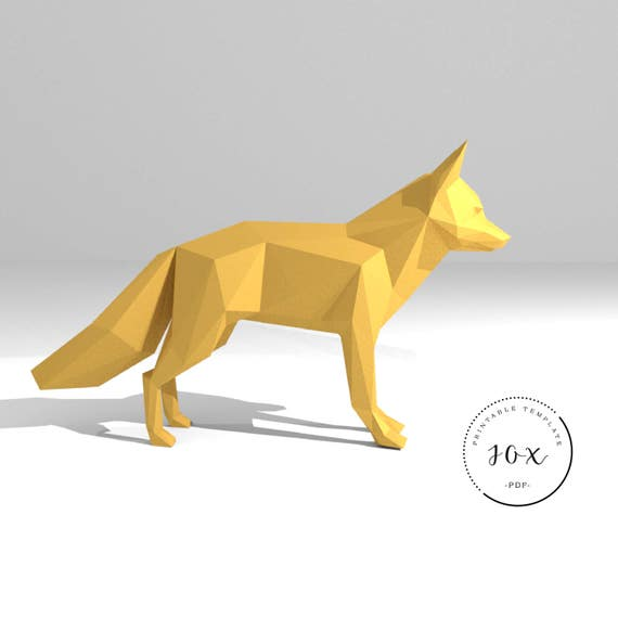 Printable diy template pdf fox low poly paper model template 3d fox low poly paper model template 3d paper trophy origami papercraft cardboard animal from peolla on etsy studio maxwellsz