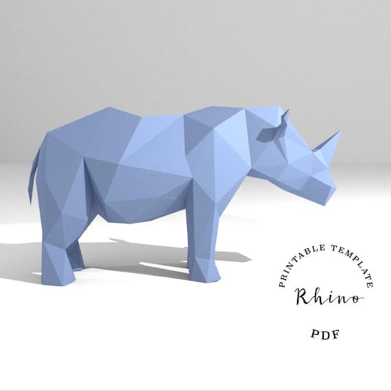 printable diy template pdf rhino low poly paper model etsy