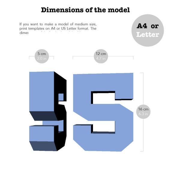 Printable DIY Template PDF Number 5 Low Poly Paper Model