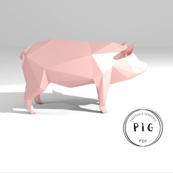 Printable DIY Template PDF Pig Low Poly Paper Model 3D Animal Sculpture Origami Papercraft Cardboard