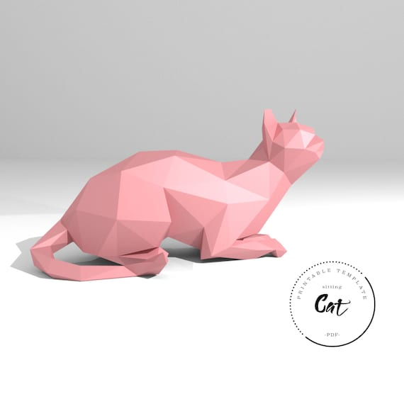 printable diy template pdf sitting cat low poly paper etsy