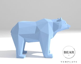 Printable DIY template (PDF).  Bear low poly paper model template. 3D paper trophy. Origami. Papercraft. Cardboard animal.