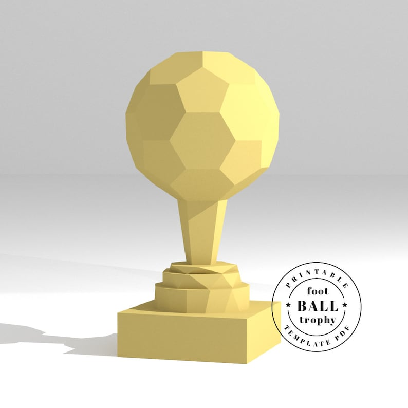Printable DIY template (PDF)  Sports trophy  Soccer  Ball Trophy low poly  paper model template  3D paper trophy  Origami  Papercraft