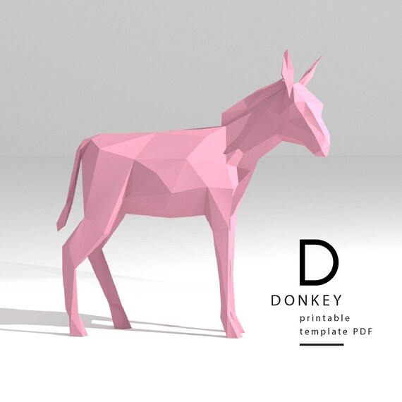 printable diy template pdf donkey low poly paper model etsy