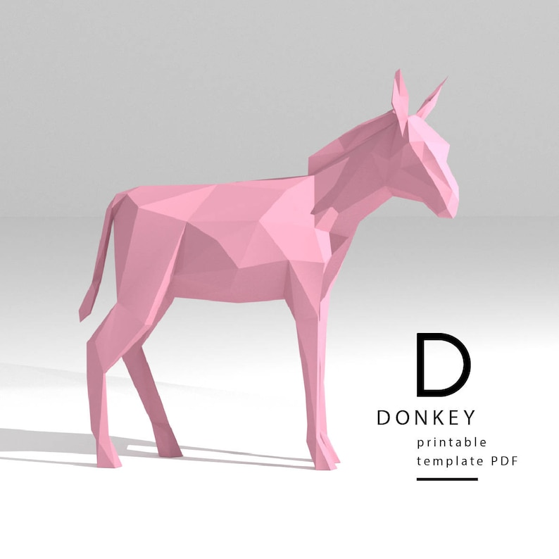Printable DIY template (PDF)  Donkey low poly paper model template  3D  paper sculpture  Origami  Papercraft  Cardboard animal
