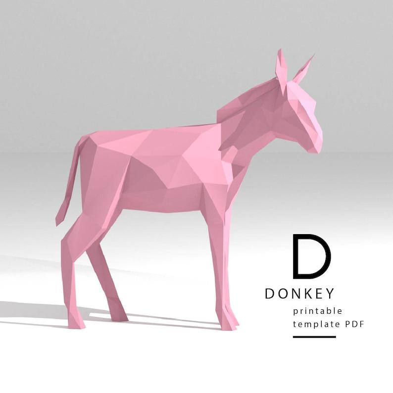 Printable Diy Template Pdf Donkey Low Poly Paper Model Etsy