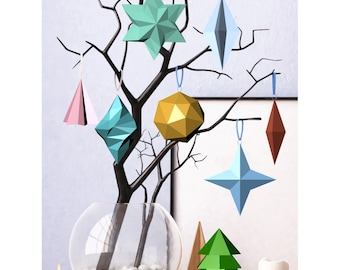 Printable DIY template (PDF). Christmas decorations. Low poly style
