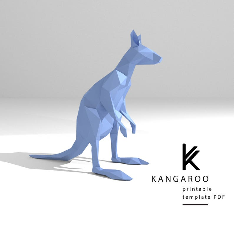 Printable DIY template (PDF)  Kangaroo low poly paper model template  3D  paper trophy  Origami  Papercraft  Cardboard animal