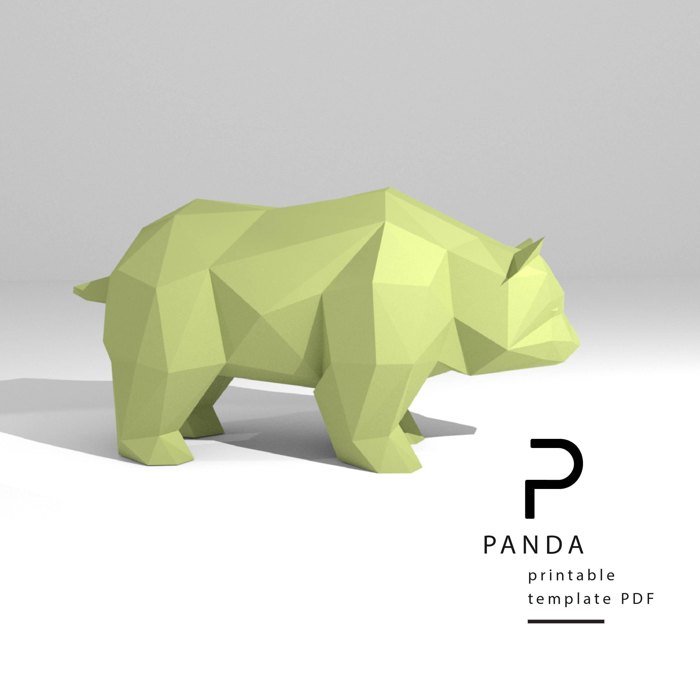 Printable DIY template PDF. Panda low poly paper model   Etsy