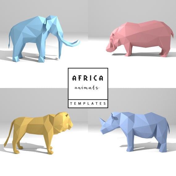 Set Of 4 Printable DIY Templates PDF African Animals Paper
