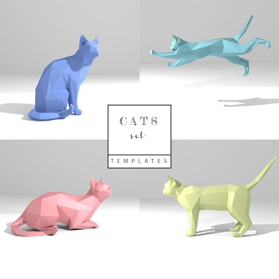 Printable DIY Template PDF Cats Set Low Poly Paper Model