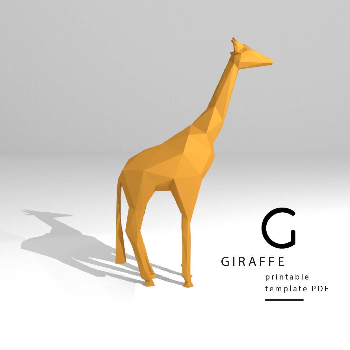 Printable DIY template PDF. Giraffe low poly paper model ... - photo#30