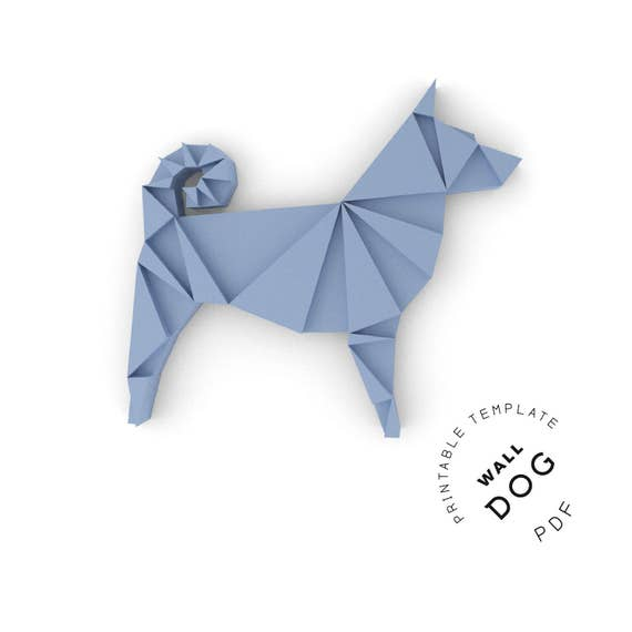 photo regarding Dog Template Printable named Printable Do-it-yourself template (PDF). Wall Pet dog very low poly paper template. 3D paper puzzle. Animal paper sculpture. Origami. Papercraft. Cardboard.