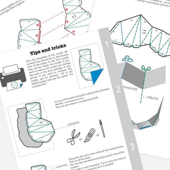 Printable DIY Template PDF Wall Deer Low Poly Paper Model