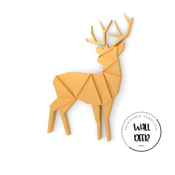 printable diy template pdf wall deer low poly paper model etsy