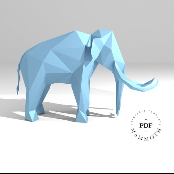 Printable DIY template (PDF). Mammoth low poly paper model template ...