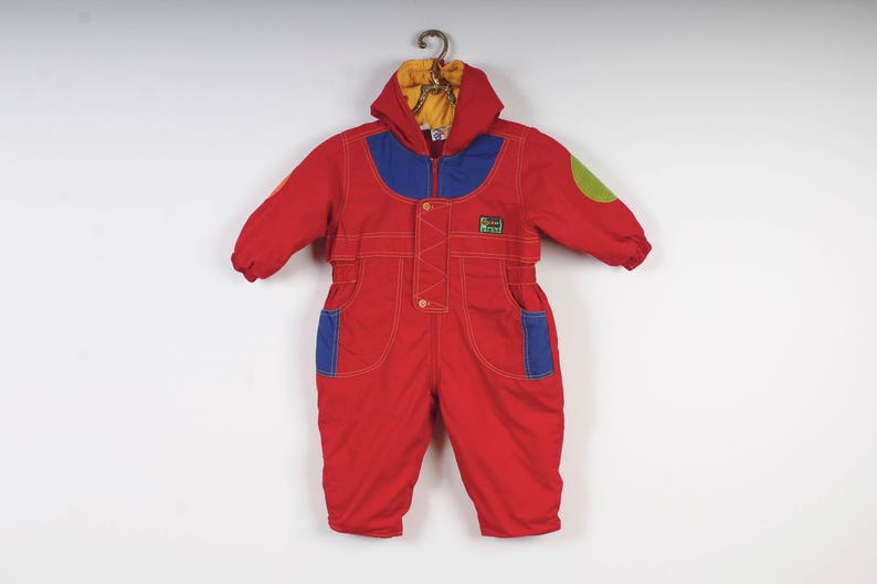 e5d158b9a820 Cold Weather Suit Vintage 80s Baby Snow Suit Hooded Bunting