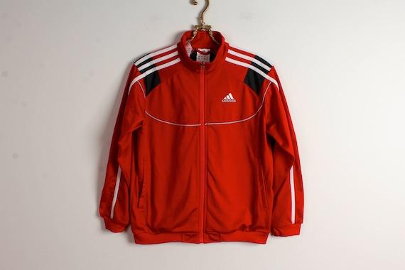 Veste rouge Running ADIDAS Parka Hipster Veste Coupe vent des années 1980 d'entraînement veste formateur Parka Parka de petite taille survêtement de