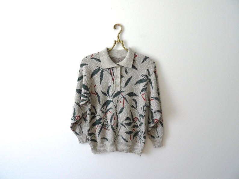 new arrival b592e 37a1d Hawaii-Pullover grau Damen Pullover Grass Print Pullover graue Watte  Mischung Pullover Coogi Style Pastell Pullover Größe s