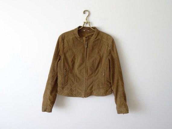 80s Suede Jacket. Brown Leather Jacket. Genuine Le