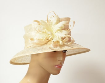 a009058c Beige sinamay lady hat Kentucky Derby hat, English Royal Hat, Wedding Hat,  Church Hat, Formal Hat, Dressy Hat, Cocktail, Easter hat