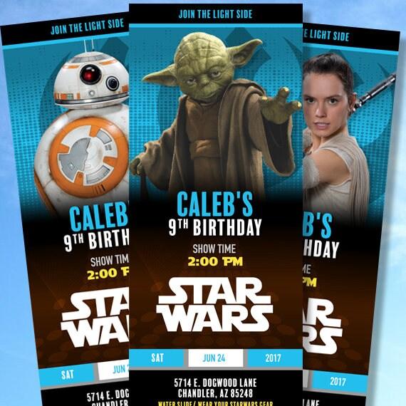 Star Wars Custom Birthday Invitations Light Side Skywalker