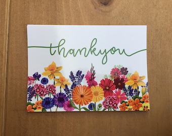 Pack of 10 thankyou postcards, A6 size with flower illustrations