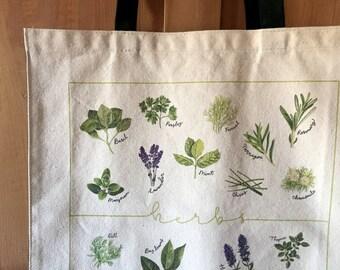 Herbs canvas shopping bag
