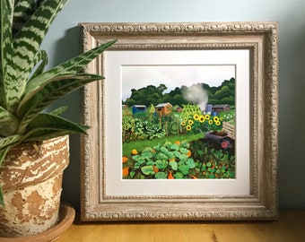 Autumn allotment illustrated print for framing, 6 inch square.