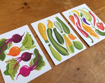 Veggie postcards pack of 6, beetroot, courgettes and chillies