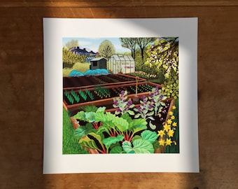 Spring Allotment, 6 inch square print for framing