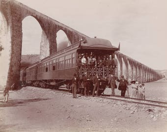 Group of People on a Train Sepia 8x10 inch Vintage Print