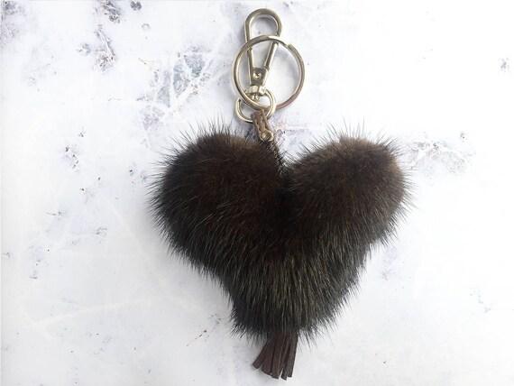 Fur Keychain Mink Fur Pompom Mahogany Dark Brown Heart  41d4369292b7