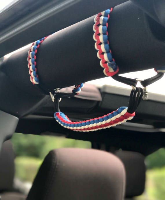 NEW Tri Color Paracord Grab Handle Set of 2