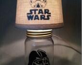 Mason jar small lamp, nightlight - Star Wars, Darth Vader influenced
