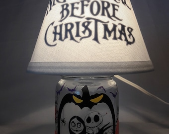 Mason jar small lamp, nightlight - The Nightmare Before Christmas influenced
