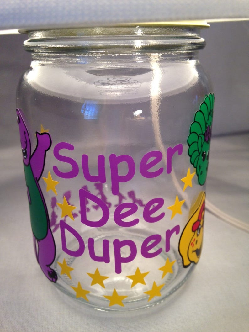 Barney influenced Mason jar small lamp nightlight