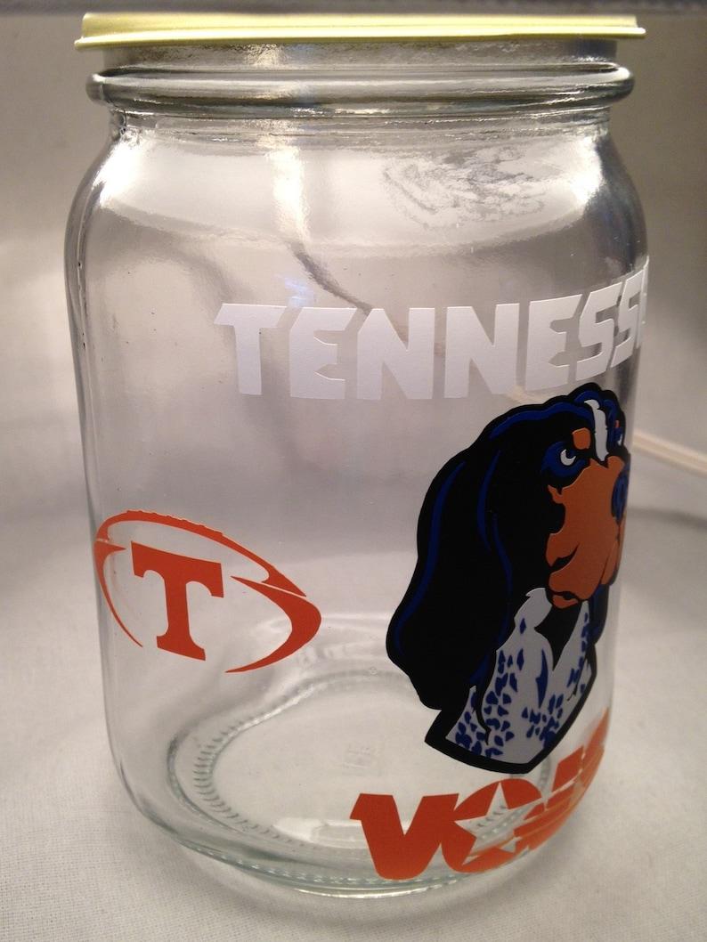 Any College Tennessee Volunteers influenced night light Mason jar small lamp