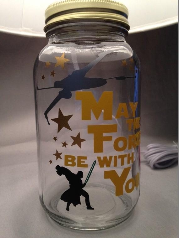 Darth Vader influenced Mason jar small lamp nightlight Star Wars