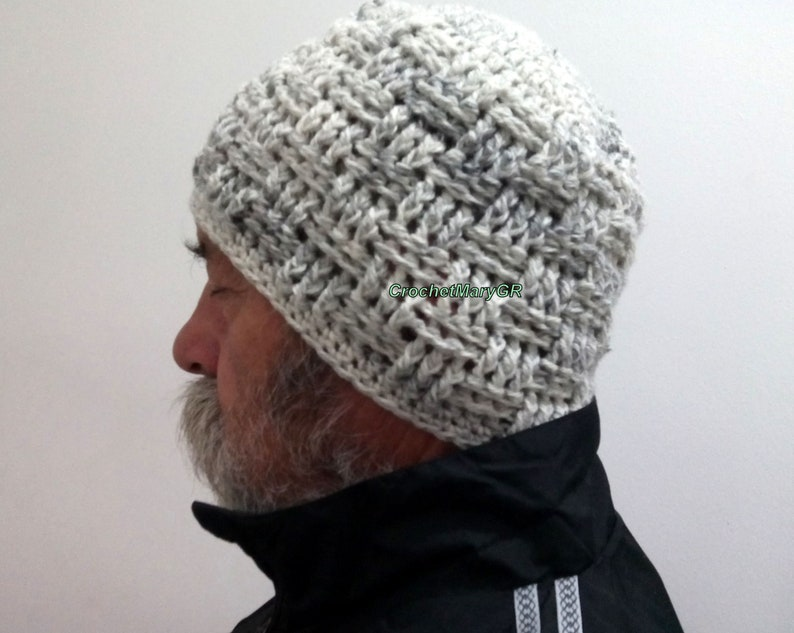 ad604e1c212 Crochet Hat Man Gray crochet hat Crochet Hat Men mens hat