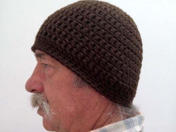 Crochet Hat Man Brown Mens Hat Crochet Hat Men Wool Etsy