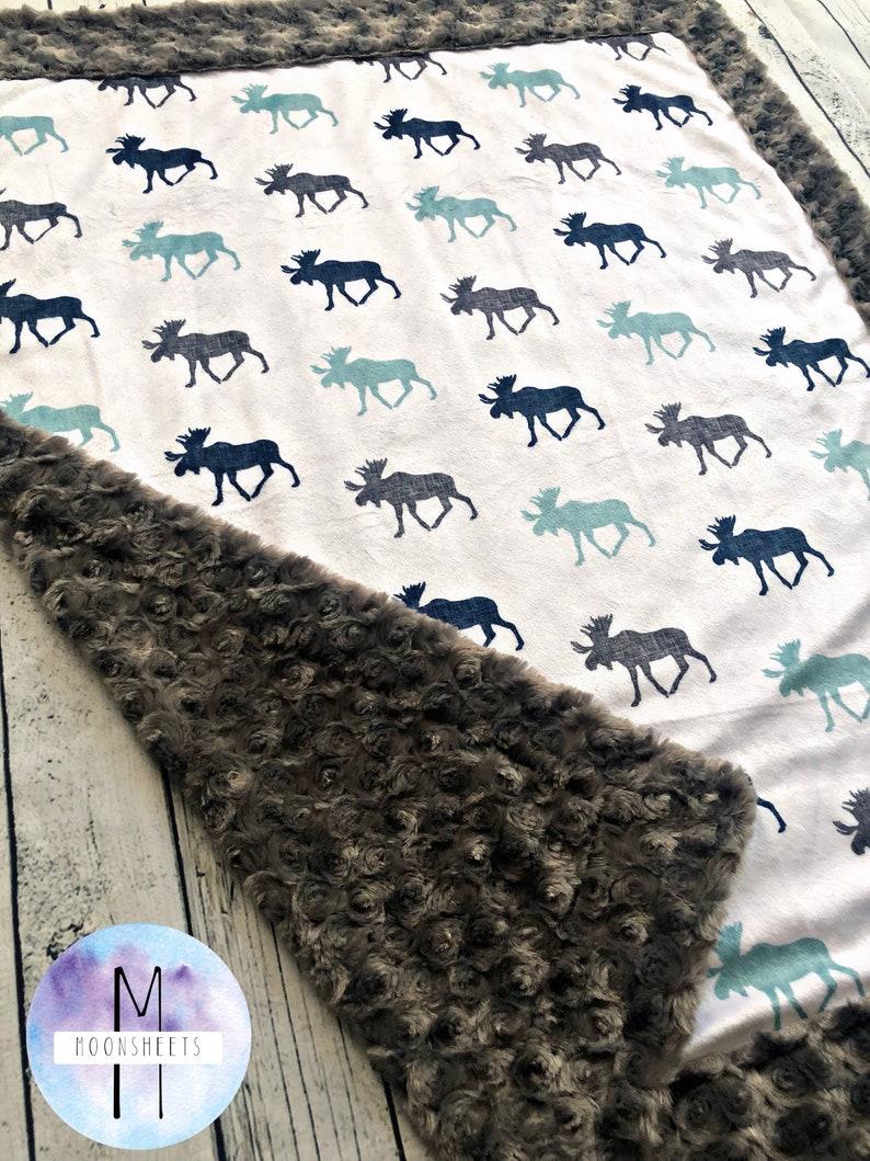 Moose Minky Baby Blanket Adult Blanket Twin Blanket Lumberjack Blanket Crib Blanket