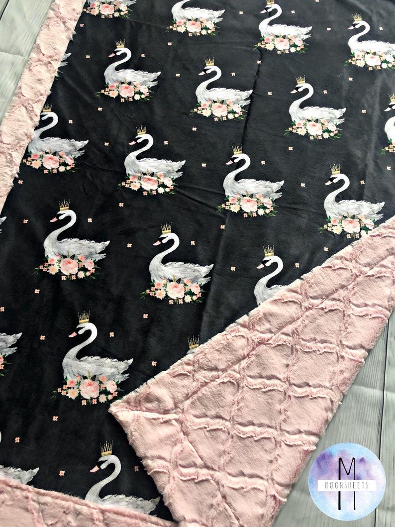 Swan Minky Baby Blanket Adult Blanket Crib Blanket
