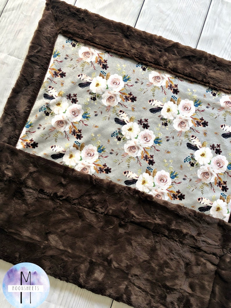 Floral Minky Blanket Multiple Size Options